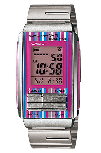Casio LA-201W-4C Ladies Steel FUTURIST LCD Watch