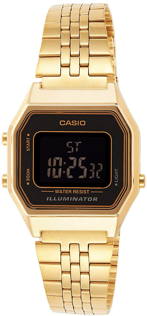 Casio LA-680WGA-1B Women's Mid-Size Digital Retro Vintage Watch GOLD