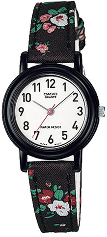 Casio LQ-139LB-1B2 Elegant Ladies Black Floral Analogue Watch Cloth Band