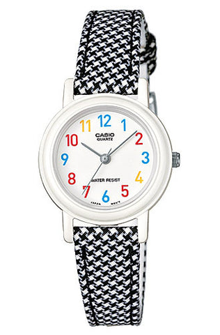 Casio LQ-139LB-1B Elegant Ladies Black Checkered Analogue Leather Cloth Band Watch