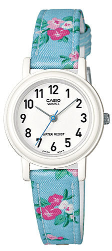 Casio LQ-139LB-2B2 Elegant Ladies Blue Floral Analogue Watch Cloth Band