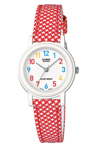 Casio LQ-139LB-4B Elegant Ladies Red Checkered Analogue Leather Cloth Band Watch
