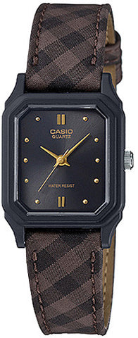 Casio Classic Ladies Analog Black with Brown Cloth Band Watch LQ-142LB-1A New
