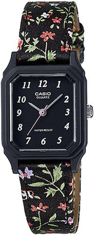 Casio Classic Ladies Analog Black Floral Cloth Band Watch LQ142LB-1B New 2015