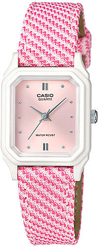 Casio Classic Ladies Analog Pink Design Cloth Band Watch LQ-142LB-4A2 New 2015