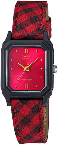 Casio LQ-142LB-4A Classic Ladies Analog Red Watch Cloth Band Design New
