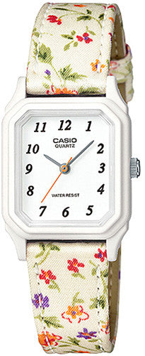 Casio Classic White Floral Cloth Band Ladies Watch LQ142LB-7B New 2015 Model