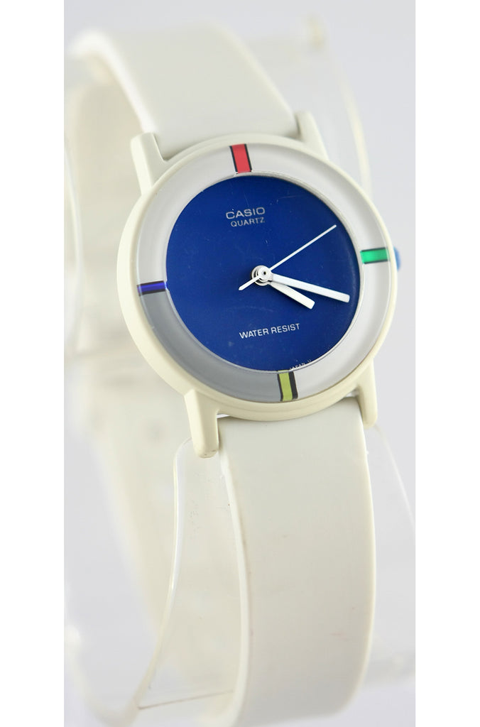 Casio LQ-61-2 Ladies Vintage 1990s Analog Watch Blue Face White Band New