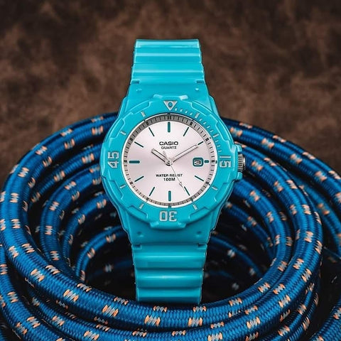 Casio LRW200H-2E3V Women's Watch Analog Blue Band Silver Dial Date 100m WR New