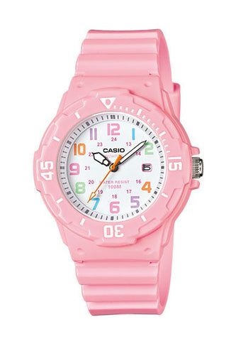Casio LRW-200H-4B2V Ladies Pink Analogue Shiny Band with Date 100m WR Watch
