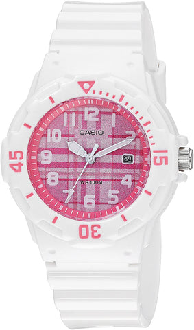 Casio LRW200H-4C Women's Watch Analog White Band Pink Dial Date 100m WR New