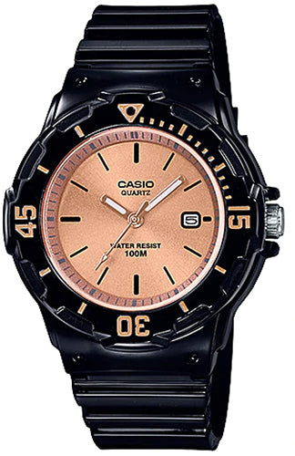 Casio LRW-200H-9E2V Ladies Gold Analogue Watch Shiny Band with Date 100m WR