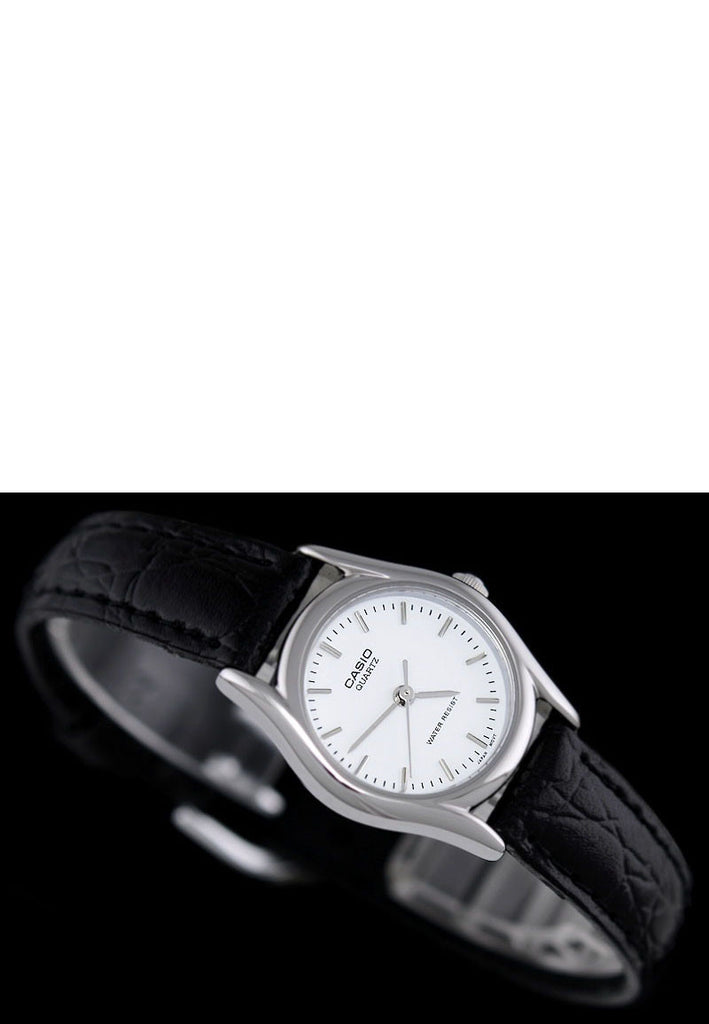 b459cb14a65 Casio LTP-1094E-7A Ladies White Analogue Croc Leather Band Watch · Enlarge  Image