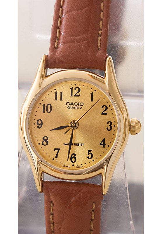 Casio LTP-1094Q-9B Ladies Gold Analogue Genuine Leather Band Watch