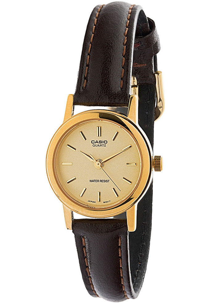 Casio LTP-1095Q-9A Ladies Gold Analogue Dress Watch Leather Band