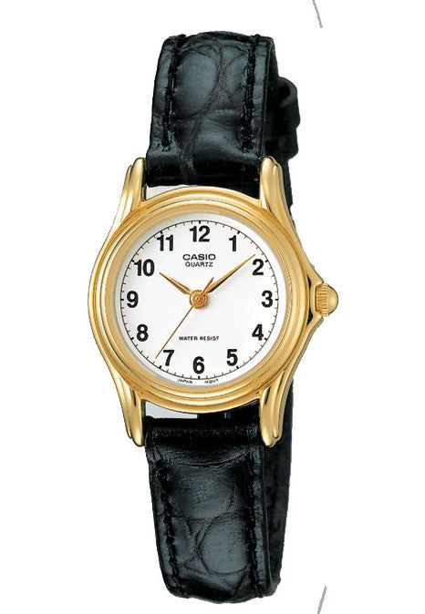 Casio LTP-1096Q-7B Ladies White and Gold Analogue Dress Watch Leather Band