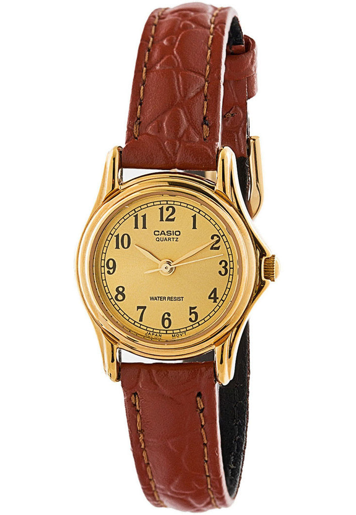 Casio LTP-1096Q-9B1 Ladies Gold Analogue Dress Watch Leather Band