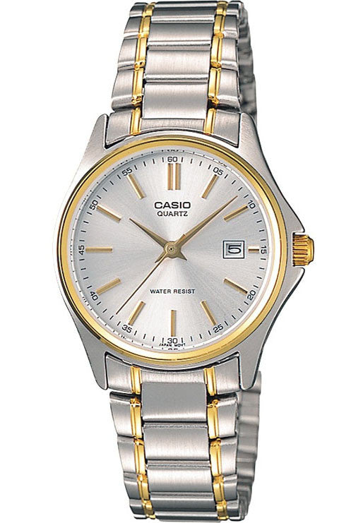 Casio LTP-1183G-7AD Ladies Gold and Silver Analogue Steel Bracelet Date Display Watch