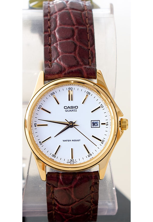 Casio LTP-1183Q-7A Ladies Analogue Brass Dress Watch Leather Band with Date