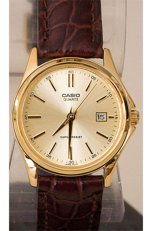 Casio LTP-1183Q-9A Women's Gold Analogue Watch Leather Band with Date