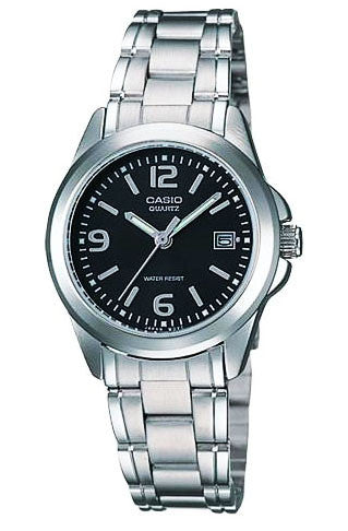 Casio LTP-1241D-1A Black Ladies Analogue Steel Band with Date Display Watch