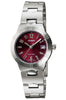 Casio LTP-1241D-4A2 Red Ladies Analogue Steel Band with Date Watch