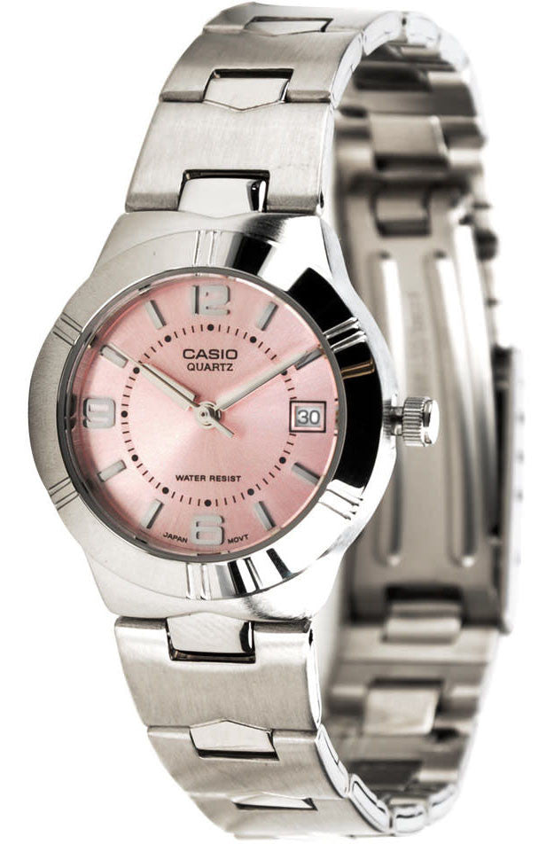 Casio LTP-1241D-4A Pink Ladies Analogue Steel Band with Date Display Watch