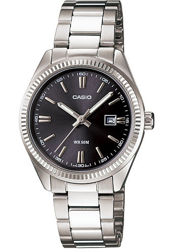 Casio LTP-1302D-1A1V Ladies Analogue Stainless Steel Band with Date Display Watch