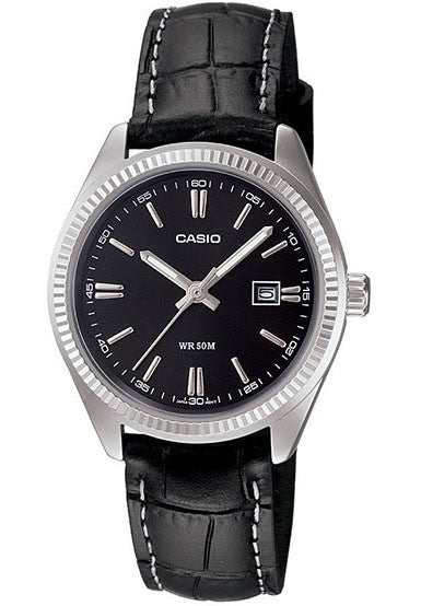 Casio LTP-1302L-1AV Ladies Analogue Leather Band with Date Display Watch