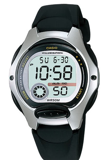 Casio LW-200-1AV Ladies Black Digital 2 Time Zones LCD Light Alarm Watch