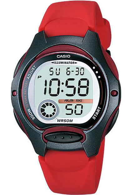Casio LW-200-4AV Ladies Red Digital 2 Time Zones LCD Light Alarm Watch
