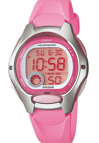 Casio LW-200-4BV Ladies Pink Digital 2 Time Zones LCD Light Alarm Watch