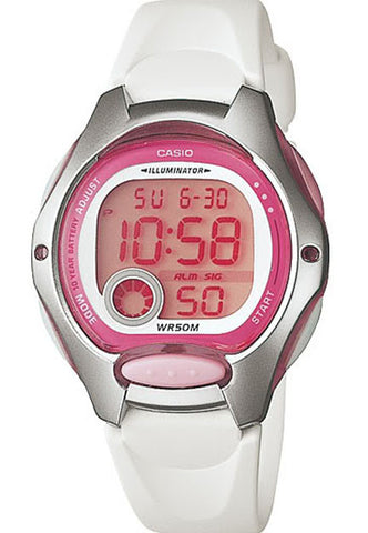 Casio LW-200-7AV Ladies White Digital 2 Time Zones LCD Light Alarm Watch