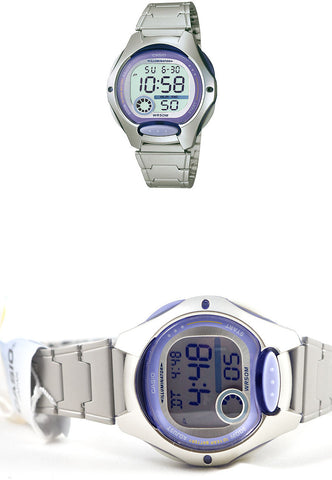 Casio LW-200D-6AV Ladies Purple Digital Sports Watch Stainless Steel Bracelet
