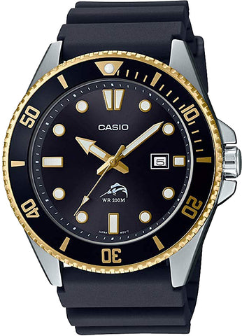 Casio MDV-106G-1A Mens 2020 Duro 200M Analog 200M Diver Sports Watch New Black and Gold