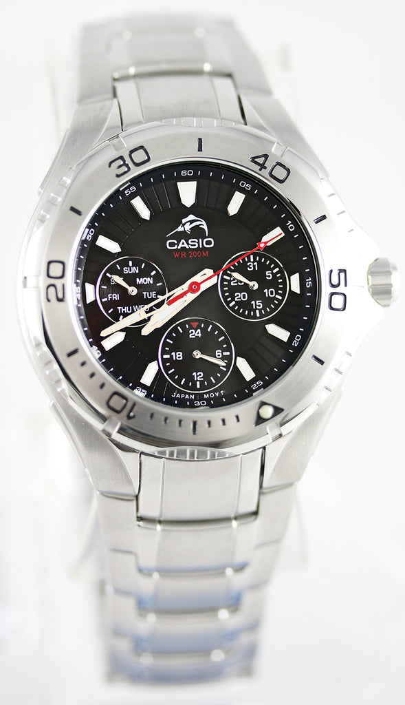 Casio MDV-301D-1AV Men's Fishing Watch Duro 200 Diver's 200M WR Black Dial