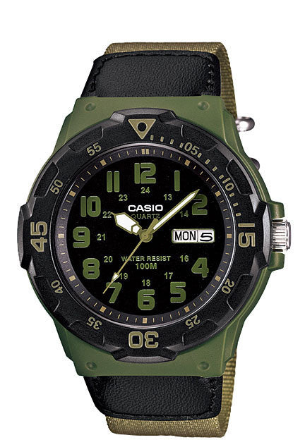 Casio MRW-200HB-3BV Analogue Day and Date Neo Display Watch 100m WR Cloth Band