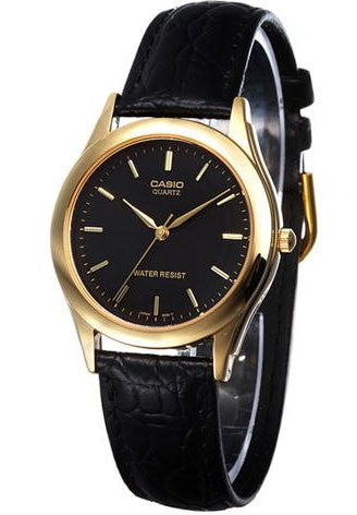 Casio MTP-1093Q-1A Men's Black Analogue Quartz Watch Leather Band