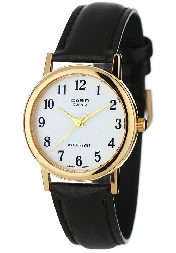 Casio MTP-1093Q-7B2 Men's White Analogue Quartz Watch Leather Band