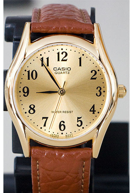Casio MTP-1094Q-9B Men's Gold Analogue Quartz Watch Leather Band