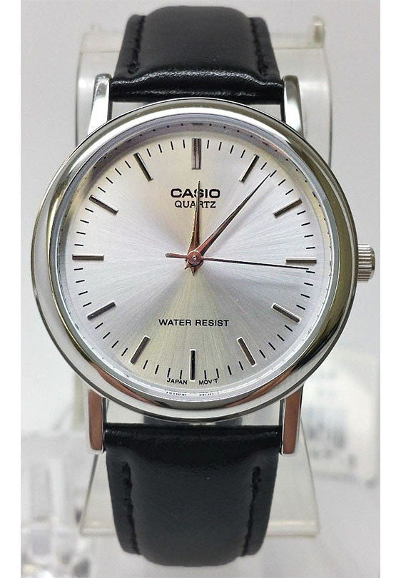 Casio MTP-1095E-7A Men's Classic Silver Analogue Brown Leather Band Watch