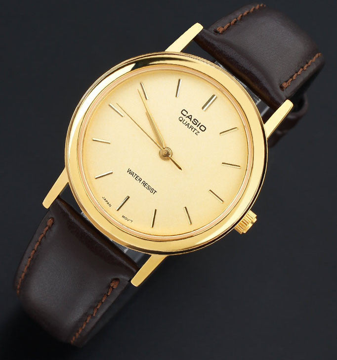 Casio MTP-1095Q-9A Men's Gold Analogue Watch Quartz Leather