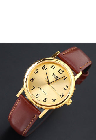 Casio MTP-1095Q-9B1 Men's Gold Analogue Quartz Watch Leather