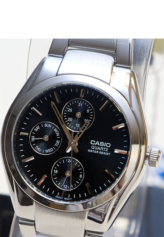 Casio MTP-1191A-1AD Men's Black Analogue 3 Dial Display Watch Stainless Steel