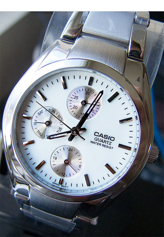 Casio MTP-1191A-7AD Men's White Analogue 3 Dial Display Watch Stainless Steel
