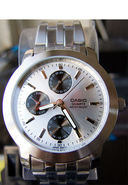 Casio MTP-1192A-7AD Men's White Stainless Steel Analog Dress Watch 3 Dials Watch