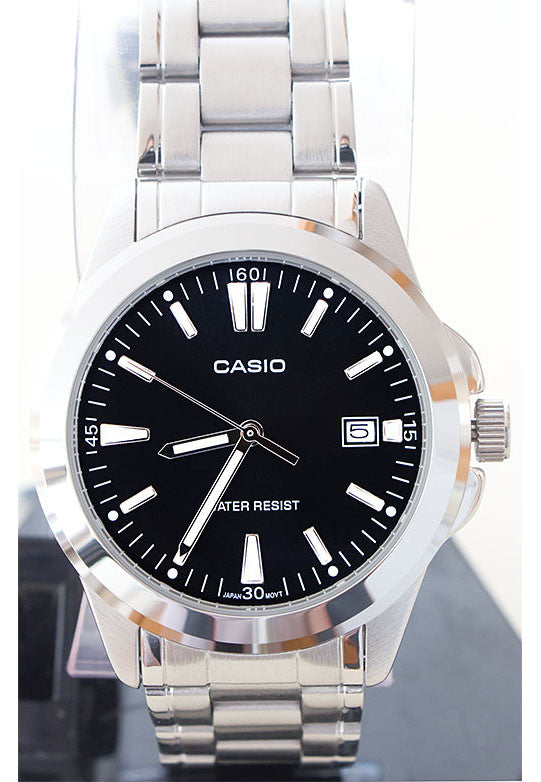 Casio MTP-1215A-1A2 Men's Black Analogue Quartz Steel Watch with Date Display