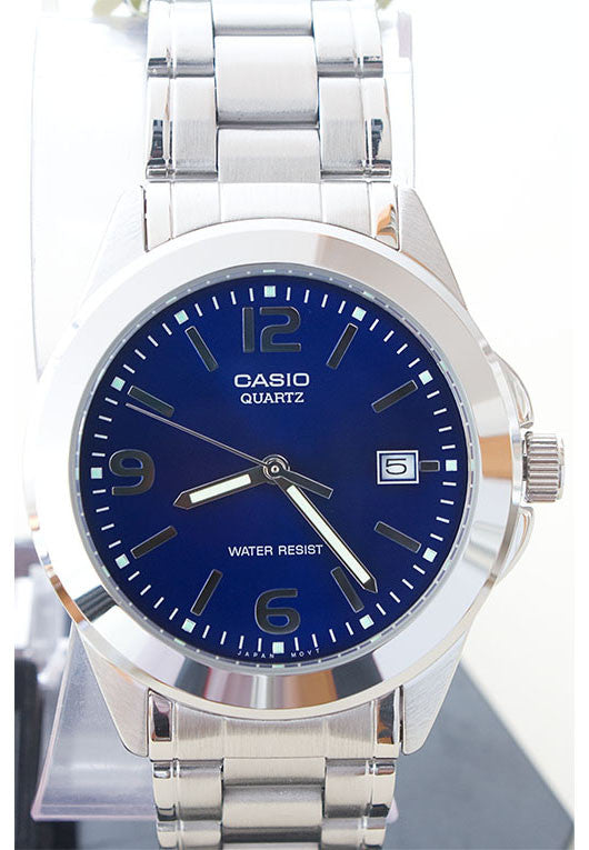 Casio MTP-1215A-2AD Men's Blue Analogue Quartz Steel Watch with Date Display