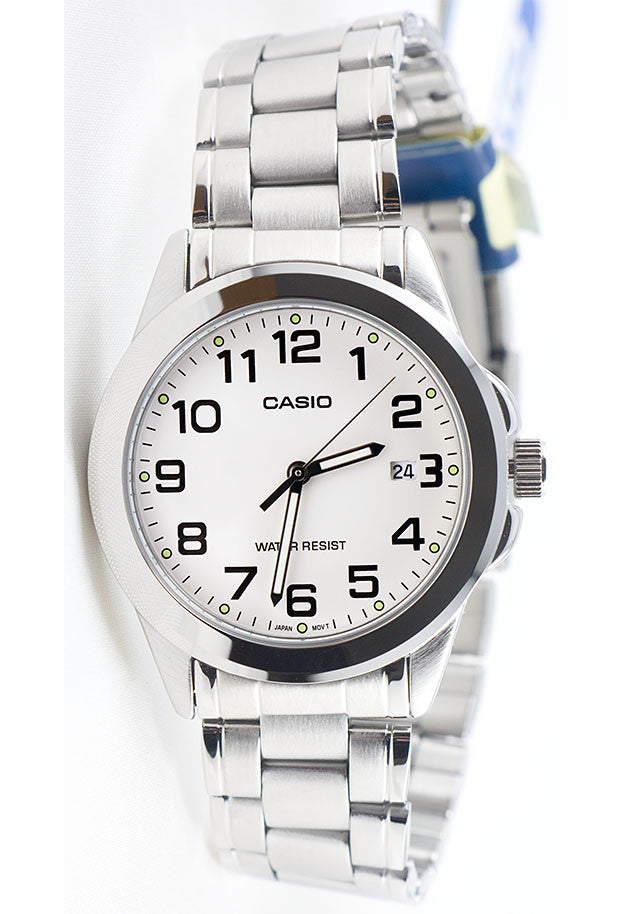 Casio MTP-1215A-7B2 Men's White Analogue Quartz Steel Band Watch with Date Display