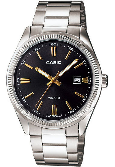 Casio MTP-1302D-1A2V Men's Analogue Date Display Steel Watch Brass Case